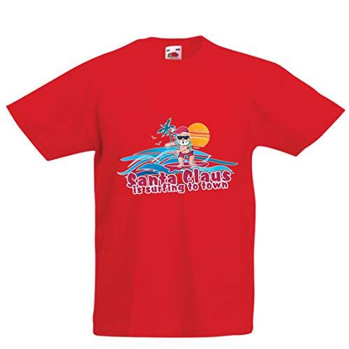 lepni.me Kinder Jungen/Mädchen T-Shirt Weihnachtsmann Surft zur Stadt, Weihnachtstanzhemd (7-8 Years Rot Mehrfarben)