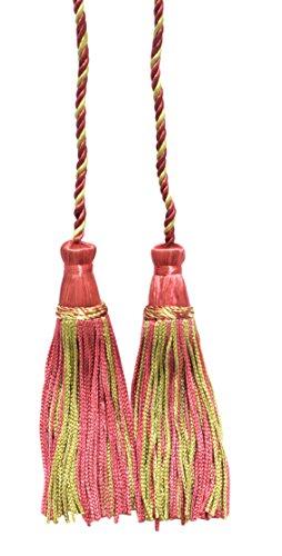 Lot de 2 Rose bonbon, Vert clair double Tassel/pompon Cravate avec 10,2 cm inch Pompon/propagation 73,7 cm, style # Cdct Couleur : Bouton de rose – 642
