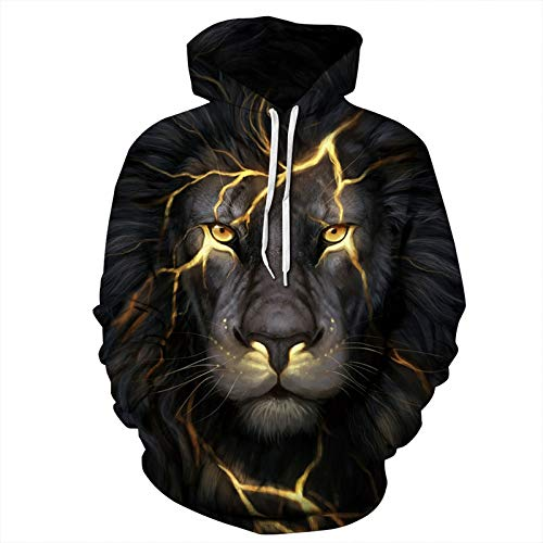 ZQWY Hombre/Mujer Sudaderas 3D Imprimir Golden Lightning Lion Hooded Hoodies Thin Hoody...
