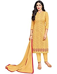 Rajnandini Women's Pure Cambric Cotton Embroidered Dress Material(JOPLMF2009_Mustard_Free Size)