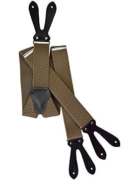 Unisex Bretelle regolabili con Vera Pelle Asole, 4cm larghezza