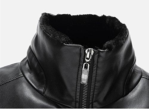 Männer Leder Passen Geschäft Leder Jacke Winter Mantel Warm Lamm Wolle Futter Schwarz
