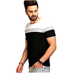 AELO Men Cotton Round Neck T-Shirt (Black, Large)