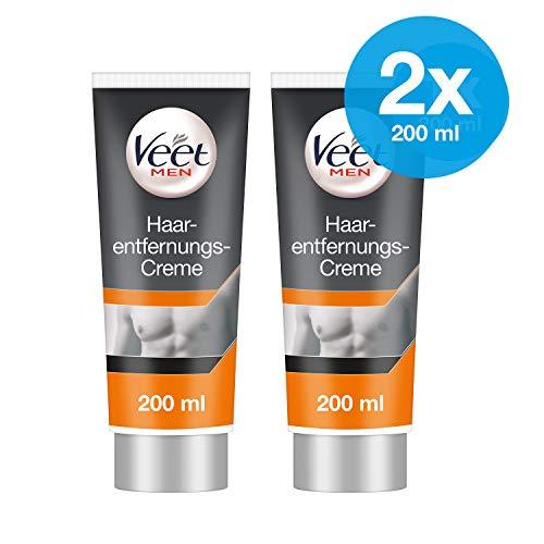 Enthaarungscreme 2er Pack für Männer für schnelle und effektive Haarentfernung in nur 5-10 Minuten Veet Men Haarentfernungscreme 2x200ml