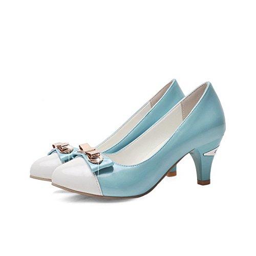 AgooLar Femme Pu Cuir à Talon Correct Rond Chaussures Légeres Bleu