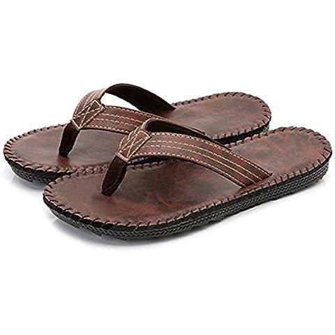 TDXIE Uomini casual estate infradito pantofole morbidi con pizzico di spiaggia antiscivolo traspirante all'estremità di 39 40 41 42 43 44 5 6 7 8 9 10 11 12 13 14 , brown , 41