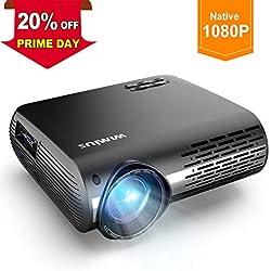 Vidéoprojecteur, WiMiUS 5000 Lumens Vidéo Projecteur Full HD 1920x1080P Natif Rétroprojecteur Supporte 4K avec Réglage Digital 70,000 Heures Projecteur LED pour Home Cinéma & Présentation d'affaires