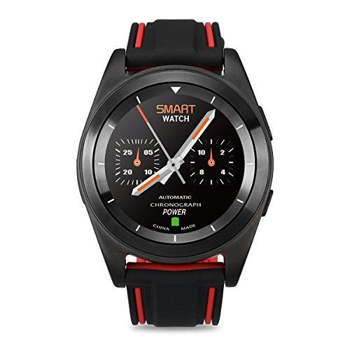 DT No.I G6 Bluetooth 4.0 Frecuencia Cardíaca Smartwatch Llamar Mensaje Remedio Pedómetro Monitor de sueño Remedio Sedentario Remoto Música y Cámara Anti-perdido Capacidad de la batería 380mAH para Android y IOS ( Rojo + Negro)