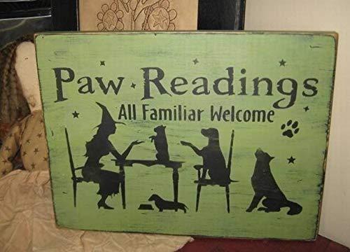 (qidushop Holzschild mit Pfotenabmessungen, Hexe mit Welpen, handbedruckt, Primitive Wicca Halloween, Wanddekoration für Zuhause, Wohnzimmer, Gardern)
