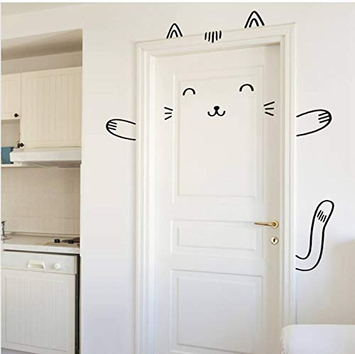 oor Decal Wall Stickers for Kids Girl, Cat Door Wall Sticker for Baby Girl Bedroom Door or Wardrobe Cute Decor ()