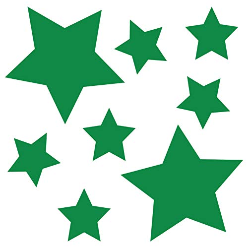 Grünes Glas-türen (kleb-Drauf® | 8 Sterne | Grün - matt | Wandtattoo Wandaufkleber Wandsticker Aufkleber Sticker | Wohnzimmer Schlafzimmer Kinderzimmer Küche Bad | Deko Wände Glas Fenster Tür Fliese)