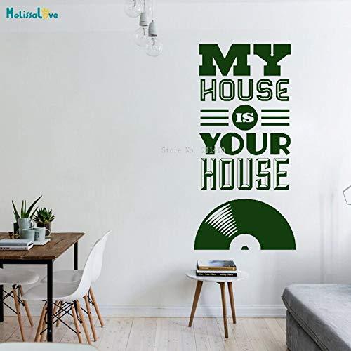 Zqyjhkou la mia casa è la tua casa vinile adesivo da parete per musica registrazione home decor soggiorno popolare cool art murale rimovibile67.2x106.8cm