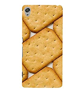 Fiobs Designer Back Case Cover for Sony Xperia XA :: Sony Xperia XA Dual (Biscuits Food Holes Dots Patterns Design)