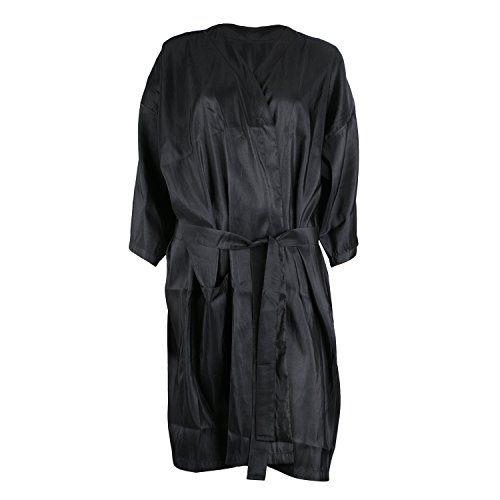 egbeauty Black Salon Kimono Kittel für Haarfarbe Shampoo Makeup Client Lounging Robe Kleid für Schönheitssalon, Client Uniform, Laborkleid ()