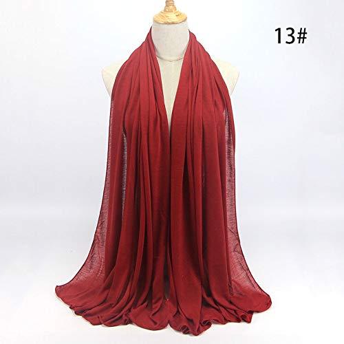ZXXWJ Plain Muslimischen Kopftuch Islamischer Frauen Hijab Moslemischen Hijab Jersey Schal Hijabs Baumwolle Schals, Burgund -