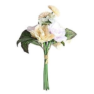 Symboat Ramo de rosas artificiales de té, flores de seda falsas, camelia, fiesta, boda, oficina, decoración del hogar