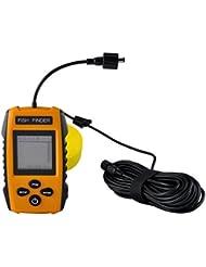 Gazechimp Portatif LCD Détecteur de Poisson 100m Sonar Alarme Transducteur Capteur Accessoire pour Pêche en Mer
