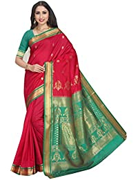 Craftsvilla Women's Silk Blend Woven Traditional Pink Saree with Unstitched blouse piece