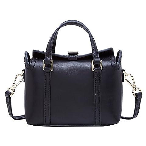BOYATU Designer Leather Backpack Ladies Shoulder Bag Elegant Mini Pack Purse (Black)
