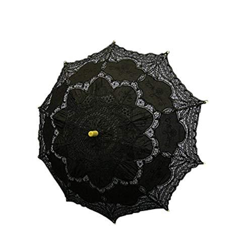 Pudincoco Nnew Mode Black Handmade Cotton Lace Parasol Umbrella Bridal Wedding (Black)