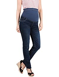 KRISP® Collection Maternité Jeans Skinny Délavé Pantalon Cigarette Over Bump Tendance
