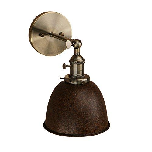 Pathson 16.5cm Metal Bañadores de pared Lámpara de pared ajustable Lámpara de luminaria Apliques de Pared de hierro Iluminación industrial retro (sin bombilla) Imitación de óxido
