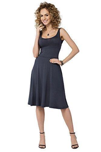 Futuro Fashion Femmes Uni Robe Patineuse Sans Manche longueur genou été Tunique Grande Taille Tailles 8-18 FM19 Graphite