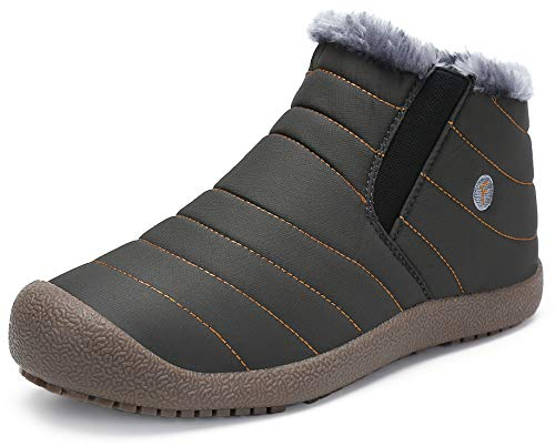 katliu Damen Herren Winterschuhe Warm Gefüttert Winterstiefel rutschfest Winter Boots Outdoor Leicht Schnee Schuhe für Frauen Männer,Grau 40