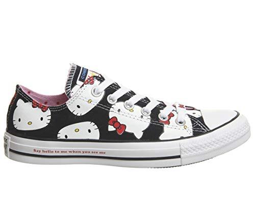 Converse All Star Ox Damen Sneaker Metallic, Schwarz - Schwarz/weiß, Hello Kitty - Größe: 5.5 UK -