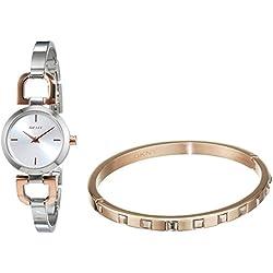 DKNY Ladies Watch & Bracelet Set-XS Analog Quartz Stainless Steel Coated NY2271