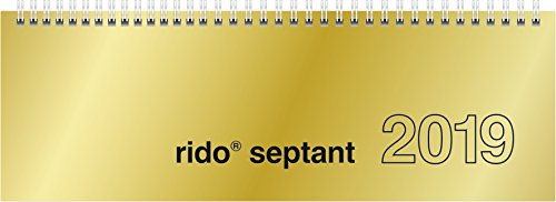 rido/idé 703612191 Tischkalender/Querterminbuch septant, 2 Seiten = 1 Woche, 305 x 105 mm, Glanzkarton-Einband gold, Kalendarium 2019, Wire-O-Bindung