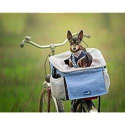 Pecute Transporteur Animal de Compagnie Vélo Pliable Respirant Sac de Transport pour Chien Chat, Transporteur Avant Vélo chien avec Poches, Multifonction 4 en 1, 39x31x25cm, Bleu, Maximum 9kg