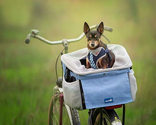 Pecute Cesta para Bicicleta 4 en 1 Plegable Lavable Transportadoras para Bicicleta, Transportín Frontal Bicis, Bolsa de Transporte para Perro Gato, Asiento del Coche de Seguridad para Mascotas