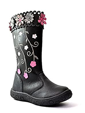 NEW GIRLS KIDS CHILDRENS FAUX LEATHER STITCHED FLOWER BIKER RIDING BOOTS PURPLE SHOES SIZE UK 7
