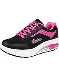 Zapatos mujer con correa deportes,Sonnena Zapatos de elevación de malla de mujer de moda Zapatos oscilantes de fondo suave casual senderismo todas las estaciones