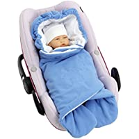 Byboom–Swaddling Blanket for Spring and Autumn and Summer For Baby Seat/Car Seat e.g. Maxi Cosi/Römer, Pram, Buggy, Baby Carrier, e.g. Manduca Baby Bed, Colour: Blue/White