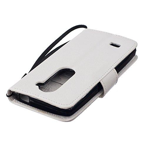 Coque pour iPhone 6 Plus 6s Plus 5.5 Zoll ,Housse en cuir pour iPhone 6 Plus 6s Plus 5.5 Zoll ,Ecoway Motif Couple Dandelion gaufré imprimé étui en cuir PU Cuir Flip Magnétique Portefeuille Etui Houss Blanc gaufré