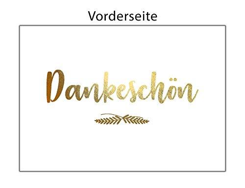 Dankeskarten GOLD – Dankeschön, Danksagung nach Hochzeit, Geburtstag, Konfirmation u.v.m. : 20 Karten mit 20 Umschlägen.