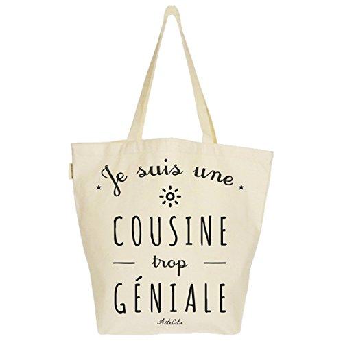 Grand Sac Cabas Fourre-tout Imprimé Toile Bio 37x45x20cm Tote Bag XL - Je suis une Cousine trop géniale