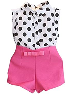 Le ragazze vestono Familizo Girl Child Kid Pois T-shirt Tops + Rosa Bowknot Pants Shorts 1 Set