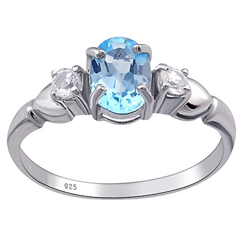 Orchid Jewelry Unisex Damen - Sterling-Silber 925 Sterling-Silber 925 Oval Rund White Blue