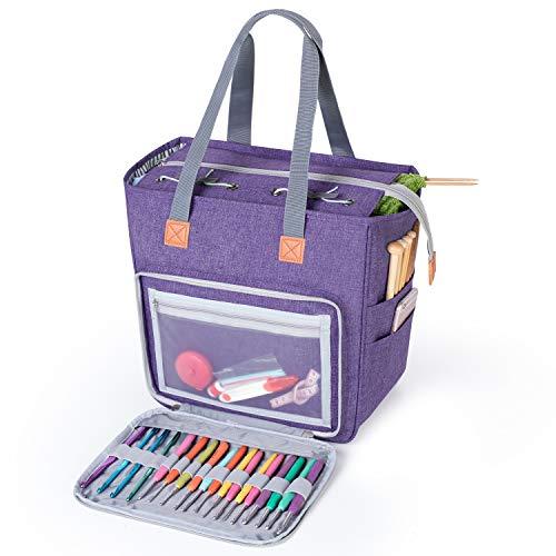Luxja Tasche für Wolle, Tasche Stricken, Häkeln Taschen für Unvollendete Projekte, Häkelnadeln und Anderes Zubehör (Kein Zubehör Enthalten), Lila