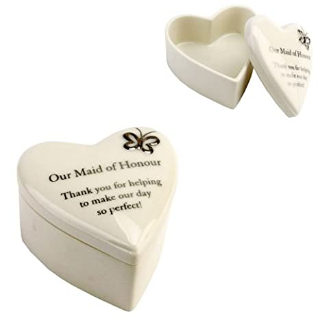 Amore Wedding Gift. Hand Painted Porcelain Heart Trinket Box - Our Maid of Honour