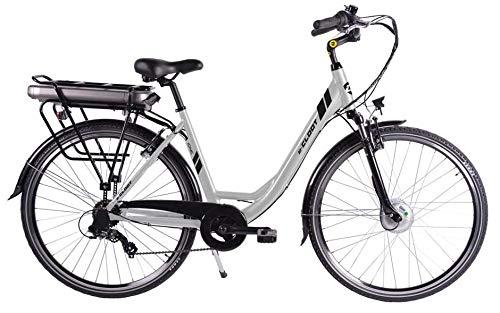 CLOOT Bicicleta Electrica Paseo Ionic Ion Litio 37V con 481Wh Shimano, suspensión Delantera y Motor Bafang. Bicicletas Paseo electricas (Gris...