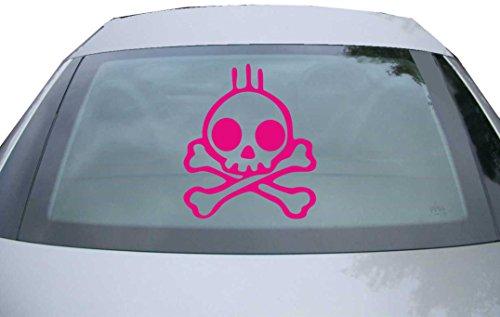 Indigos UG - Aufkleber für Heckscheibe & Motorklappe DE6332 - pink - 600x514 mm - skull rock - für Auto, Scheiben, Fenster, Heckklappe, Tuning, Racing, JDM / Die cut (Indigo-blumen-rock)