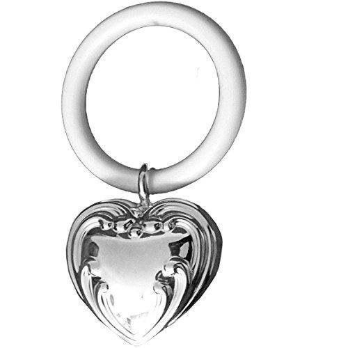 Kinderrassel mit Beissring Herz L 9 cm Silber Plated versilbert