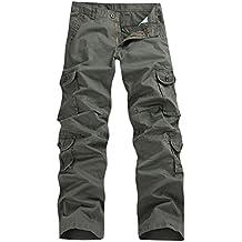 3919f9f4a83 FEOYA - Pantalon Long Homme Style de Cargo - Pantalons Décontracté Multi  Poches (sans Ceinture
