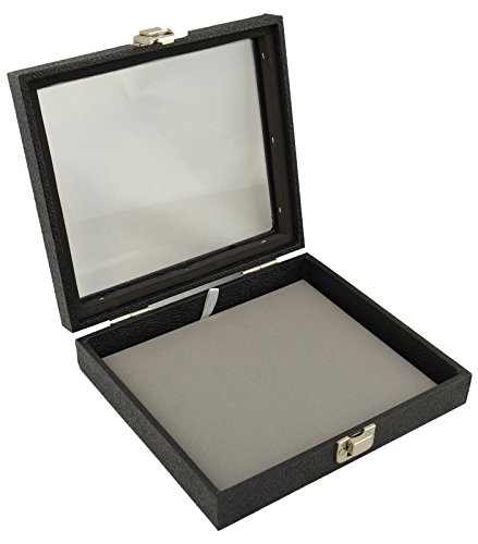 boxdisplays Display Case with Glass Lid & Clasp + Grey Velvet Pad Insert