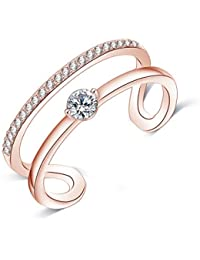 Jewels Galaxy Luxuria Edition Sparkling AAA Swiss AD Delicate Design 18K Rose Gold Glamorous Adjustable Ring For...