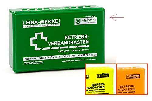 LEINA-WERKE 20001 Betriebsverbandkasten mit Wandhalterung, Klein, Grün, 1 Stück